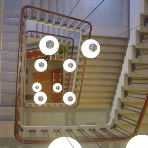 Lamps hanging in stairwell