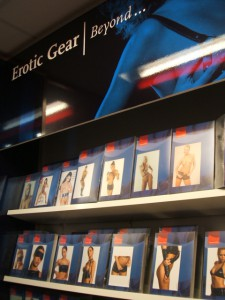 Bookshelves with erotic gear