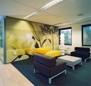 Lounge area with big wall image