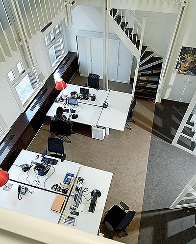 Picture of desks from above