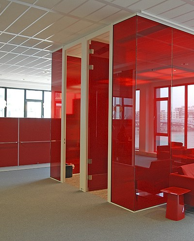 Room in a room with red glass
