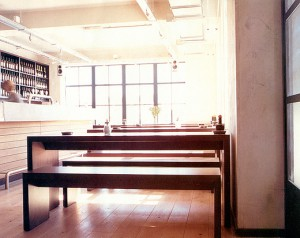 bench and table in restaurant