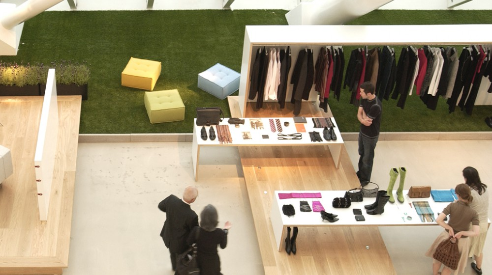 Interior with samples of Mexx clothes