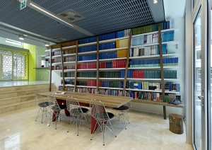 Bookshelves and table with chairs
